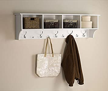 White 5 Ft Entry Hall Shelf With 4 Cubby And 9 Hook Coat Rack A