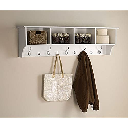 White 5 Ft Entry Hall Shelf With 4 Cubby And 9 Hook Coat Rack. A Wall Mount  Storage Hat Rack Makes A Convenient Space Saver That Keeps Your Entryway ...