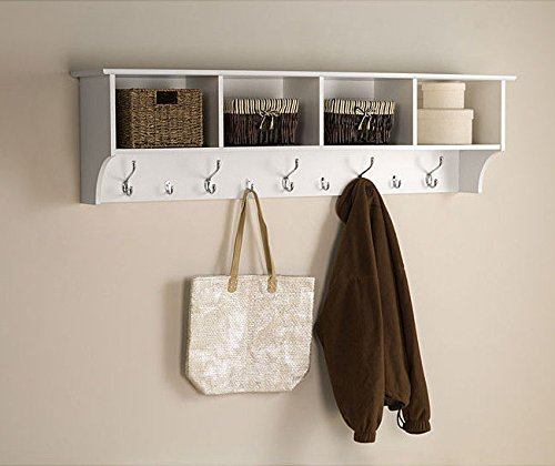 White 5 Ft Entry Hall Shelf with 4 Cubby and 9 Hook Coat Rack. A Wall Mount Storage Hat Rack Makes a Convenient Space Saver That Keeps Your Entryway Organized. ()