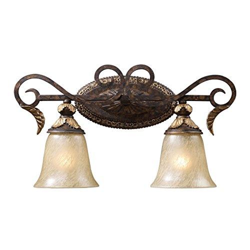 Alumbrada Collection Regency 2 Light Vanity In Burnt Bronze And Gold Leaf (Sconce Gold Burnt Leaf)