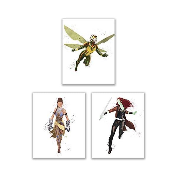 41H985YwdTL Watercolor Avengers Girls Prints - Set of 15 (8x10 Inches) Glossy Comic MCU Wall Art Decor - Black Widow- Captain Marvel…