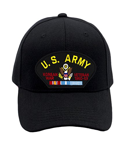 Patchtown US Army - Korean War Veteran Hat/Ballcap Adjustable One Size Fits Most (Multiple Colors & Styles) (Black, Add American Flag)