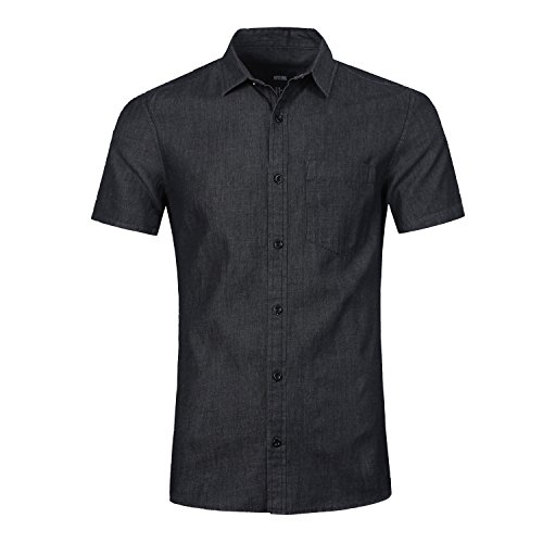 l Western Short Sleeve Denim Shirts Slim Fit Button Down Shirt (Black,L) (Embroidered Linen Crop Pants)