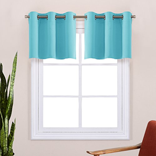 Thermal Insulated Blackout Window Valances - Energy Efficient Home Decor Grommet Top Tier Curtains for Bedroom by NICETOWN (29 by 14 Inches, Turquoise, 2 Packs) (Bedroom Valances Window)