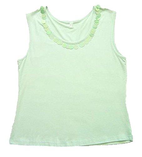 Stretchshirt t-shirt débardeur femme stretch top à paillettes vert-taille 36/38
