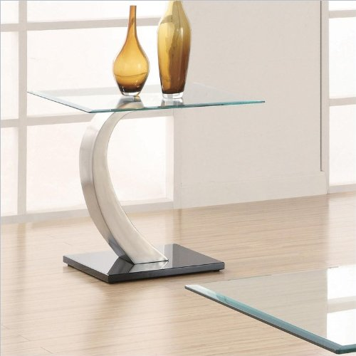 Table Room Chrome Living (Coaster Home Furnishings End Table with Glass Top in Silver and Black Metal Base)