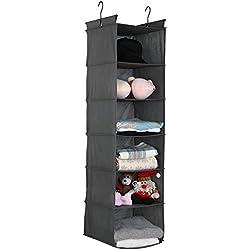 "6-Shelf Hanging Closet Organizer,12""x12""x48'',Grey"