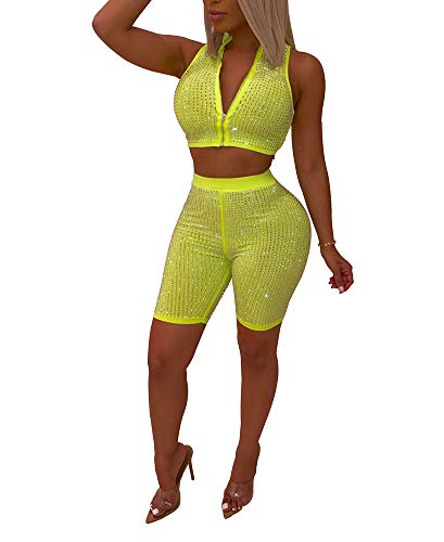 (Salimdy Womens Sexy Sparkle Rhinestone 2 Piece Outfits Zipper Deep V Neck Sleeveless Crop Top and Short Pants Jumpsuits Romper Green M )