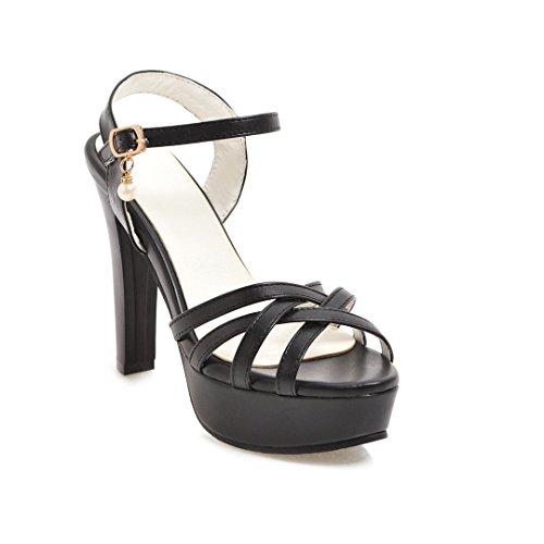Sandales de Plate Talon Poisson Bouche épaisse la Haut avec Forme Black Nouvelle Boucle Femmes Imperméable du La l'été r6w4Rxrt