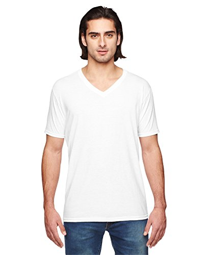 (Anvil Adult Tri-Blend V-Neck T-Shirt, White, XXX-Large )