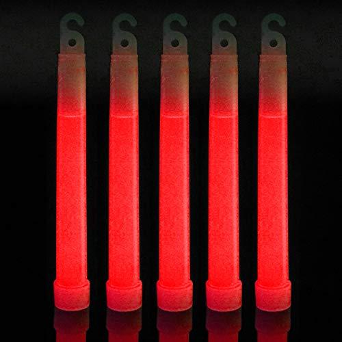 100 Red Premium 6 inch Glow Sticks Bulk Pack | Long Lasting 8-12 Hours Bright Chemical Lights | Industrial Grade Emergency Light Sticks | Certified Safe for Kids Halloween GlowSticks
