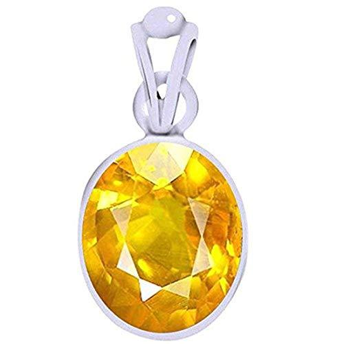 (Ramneek Jewels Divya Shakti 15.25-15.50 Carats Yellow Sapphire Pendant/Locket (Pukhraj/Jupiter Stone Silver Pendant) 100% Original AAA Quality Gemstone)