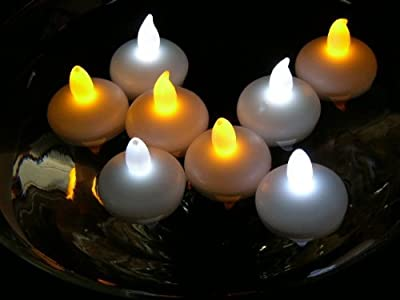 AGPtEK® 12 PCS Smokeless Waterproof Floating LED Tealight Candle Wedding Holiday Christmas Xmas Party Decoration Floral Flameless-Cool White/Warm White/Yellow