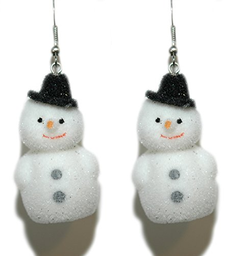 - White Flocked Mini Christmas Snowman Dangle Earrings (H181)
