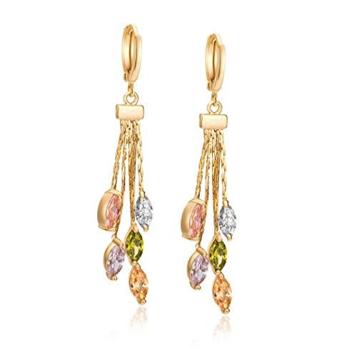 Earrings Stone Peridot (KaiKBax Women's Jewelry Marquise Amethyst Peridot Morganite Pink Topaz Tourmaline Gemstone 18K Yellow Gold Filled Long Tassle Dangle Earring)