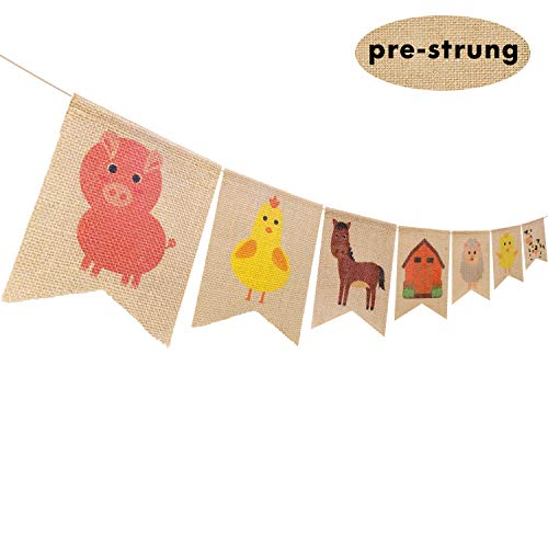 Farm Animal Party Decoration Barnyard Themed Party Banner Supplies for Birthday Baby Shower Celebrations, High Chair Garland Hanging -