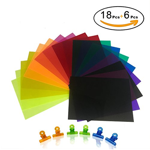 Initial heart 18 Pack Correction Gel Light Filter Sheet Colored ...