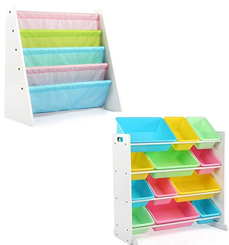 Tot Tutors Bundle Includes 2 Items Kids' Toy Storage Organizer with 12 Plastic Bins, White/Pastel (Pastel Collection) and Kids Book Rack Storage Bookshelf, White/Pastel (Pastel