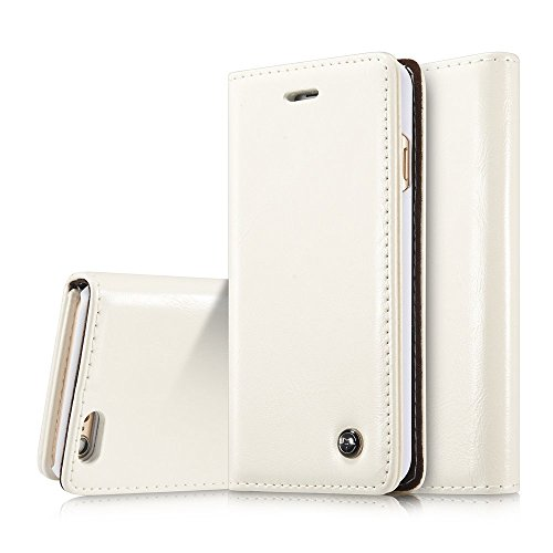 Ivory Pu Leather (iPhone 6s plus Case,6s plus Wallet Case,AKHVRS Genuine Leather Magnet Cover Wallet Leather Case Flip Cover Folio Case [Card Slot][Wallet][Magnetic Closure] for iPhone 6 plus /6s plus 5.5