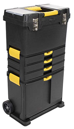 Erie Tools Heavy-Duty Portable Toolbox Organizer with Foldable Auto-Locking Handle & (3) Detachable Storage Compartments