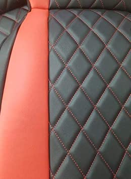 100/% Passgenau Kompatibel mit SMART FORTWO Top Car Ath || Rhombus aus Kunstleder mit Synthetik 453 mit schneidendem Sicherheitsgurt Zwei Luxus Autositzbez/üge Veganes Leber | Farben Rot