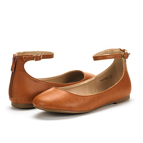 Nice Flats Tan Ankle Sole Women's Strap Walking PAIRS DREAM Pu Shoes zw0tqfE
