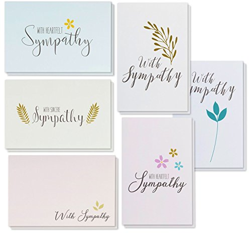 Sympathy Cards - 48-Pack Sympathy Cards Bulk, Greeting Cards Sympathy, 6 Floral and Foliage Designs, Envelopes Included, Assorted Sympathy Cards, 4 x 6 Inches (Sympathy Assortment Card)