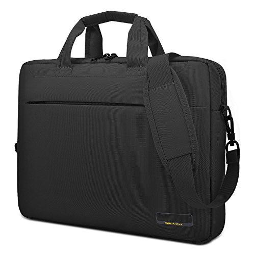 15.6 Inch Laptop Bag for College Work Outdoor Business Travel Slim Lightweight Water Resistant Shockproof Nylon Satchel Handbag shoulder Bag Men's Messenger Briefcase with Luggage Strap,Black ()