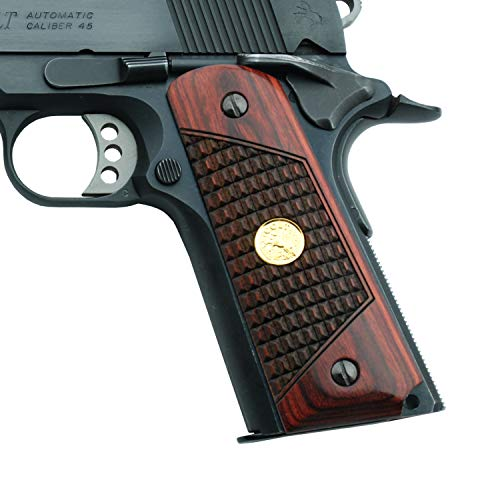 Altamont 1911 Grips - Full Size 1911 Wood Grips - Made in USA - Crocback Design Ambi Safety Grips fit Commander, Standard & Government 1911 Models - Rosewood with Gold - Imports Medallion