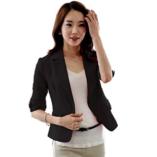 Etosell Women's Sexy 3/4 Sleeve One Button Blazer Short OL Suit Coat Tops
