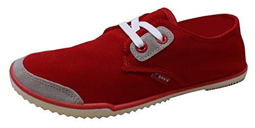 Hans Womens Color Block Minimalist Low Profile Fashion Trainer Plimsoll Sneaker Red QDuIONHftv