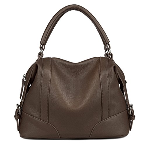 Availcx Bolsos de hombro de cremallera de bolso de cuero suave de las mujeres Marrón oscuro