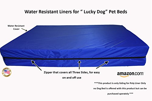 Lucky Dog – Water Resistant Liner ONLY!! | NO FOAM INCLUDED !! | for Large Ultimate Luxury 7 inch Gel Memory Foam Orthopedic Dog Bed with Bolster | 100% USA Made – Engineered for Large Breed Dogs to Provide Support – Extra Large (XL) 52″X 36″ X 7″ For Sale