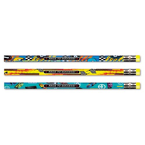 Moon Products - Decorated Pencil, Race to Success!, HB, 2.1 mm, Assorted Barrel, Black, 12/Pack 52064B (DMi DZ