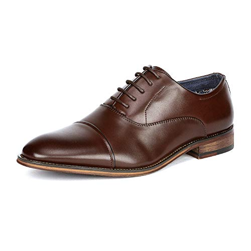 - Bruno Marc Men's Louis_2 Dark Brown Lace Up Soft Cap-Toe Oxfords Formal Dress Shoes Size 9.5 M US