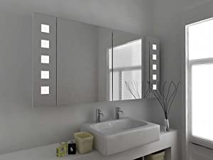 Modern Mirror Design Illuminated Bathroom Mirror Cabinet With Sensor And Shaver Socket C123