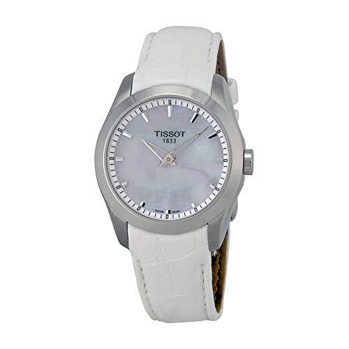 Tissot Couturier Grande Automatic Mother of Pearl Dial White Leather Ladies Watch T0352461611100