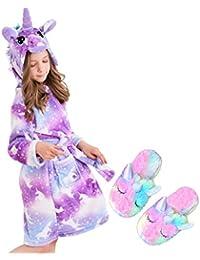Unicorn Hooded Bathrobe Sleepwear Matching Slippers Girls Gifts (Purple Unicorns, 10-11 Years)