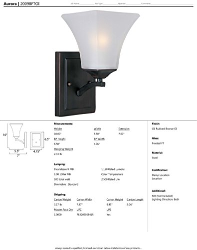 Maxim 20098FTOI Aurora 1-Light Wall Sconce Bath Vanity, Oil Rubbed Bronze Finish, Frosted Glass, MB Incandescent Incandescent Bulb , 100W Max., Damp Safety Rating, Standard Dimmable, Glass Shade Material, 4600 Rated Lumens by Maxim Lighting (Image #1)