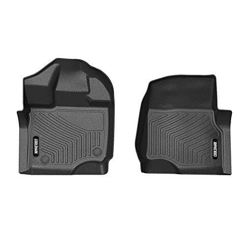 COOLSHARK Ford F150 Front Floor Mats, Floor Liner Custom Fit for 2015-2019 Ford F150 and 2017-2019 F-150 Raptor,SuperCab (Extended Cab) - Supercrew (Crew Cab),Front Mats Only-All Weather Guard,Black