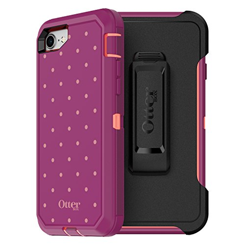 OtterBox Defender Series Case for iPhone 8 & iPhone 7 (NOT Plus) - Frustration Free Packaging - Coral DOT (Fusion Coral/Baton Rouge/Metallic DOT)
