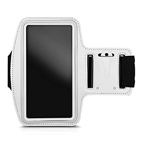 kwmobile sport armband for Smartphones jogging running sport bag fitness band with key compartment in the sport armband in white - e.g. compatible with Samsung, (Lg L9 Music Case)