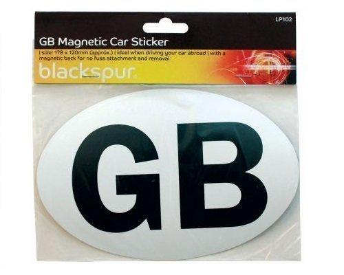 Magnetic White GB Sticker Plate Travelling EU European Car Caravan Great Britain Blackspur