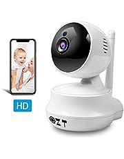 QZT Telecamera IP 720P HD, Telecamera di Videosorveglianza WiFi con Visione Notturna, Rilevazione di Movimento, Audio Bidirezionale, Casa Videocamera Sorveglianza per Bambino Sambuco