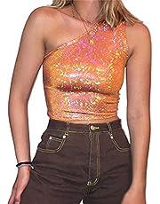 GOWEGB Dames One Shoulder Glitter Pailletten Crop T-Shirt Top Glitter One Schouder Mouwloos Crop Top Sparkle Y2k Pailletten Top, A-oranje, L