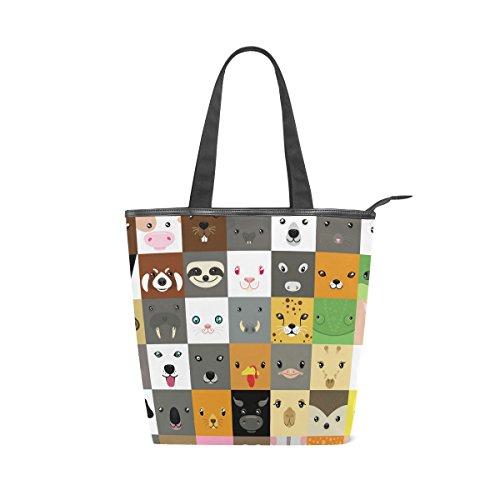 Bag Emoji Handbag Faces Shoulder MyDaily Canvas Animal Cute Womens Tote qPnHtw6