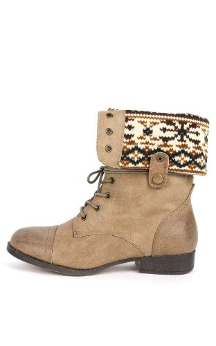 Fold Down Cuff (Elegant Footwear Women's Cuff Fold-Over Lace-Up Chunky Stacked Heel Combat Boot,10 B(M) US,Taupe Pu)