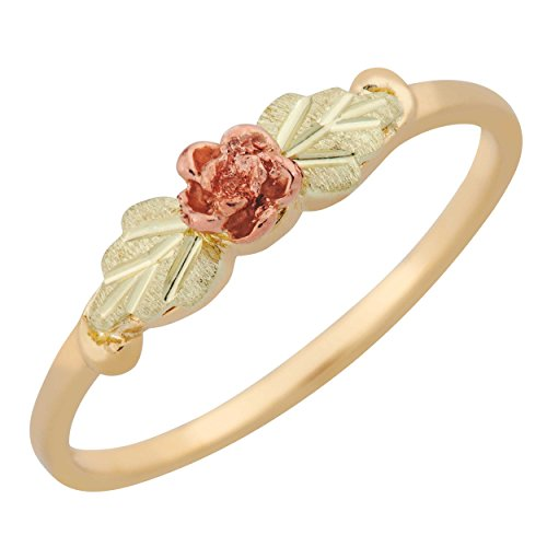 Ladies 10k Black Hills Gold Rose Ring ()