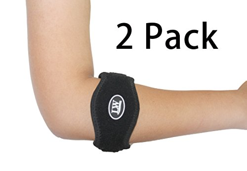 Two LW Elbow Support Strap Wrap band (Pack of 2) L/XL - The Best Neoprene Forearm Brace with a Compression Pad - Tennis Elbow Golfer's Elbow Rowing Elbow Pain Relief