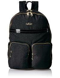 Kipling Tina Backpack 12 Piece, Black Patent Combo, One Size